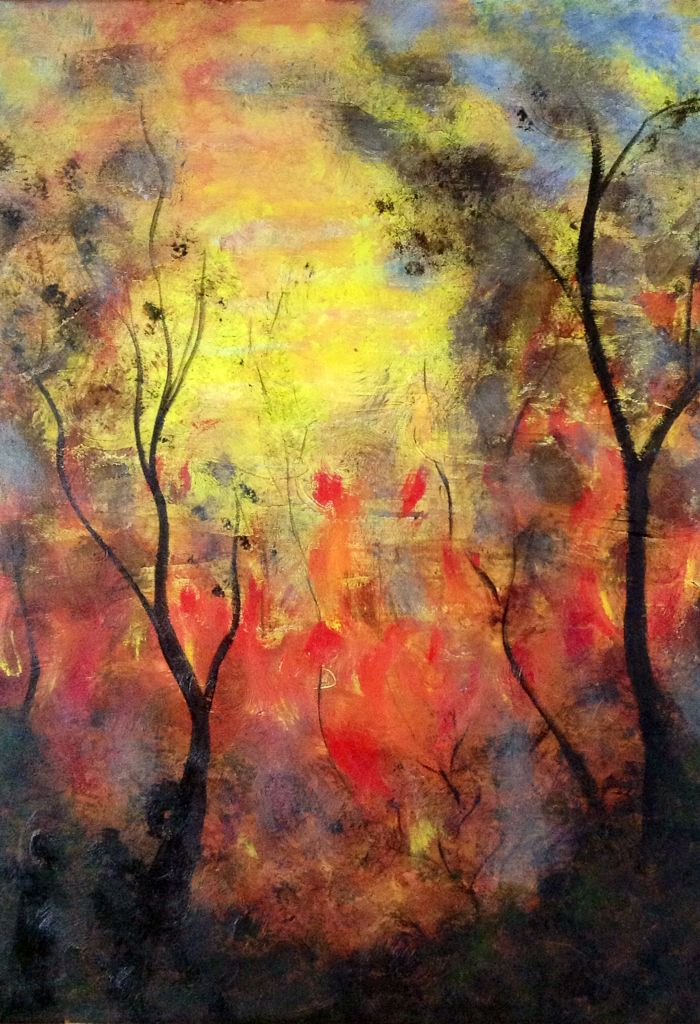 Bush Fire ! Mixed media on canvas .  By Belinda Laurie