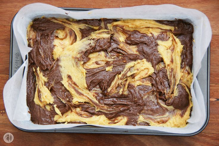 Fun to make & great to eat. This Peanut Butter & Chocolate Brownie is ready for baking.