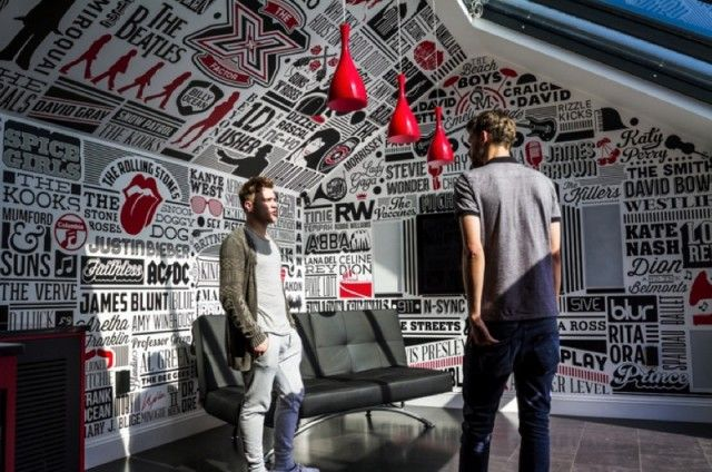 Music room design, pop art, legendary bands, graphic design, typography, red, white, black, contemporary, modern
