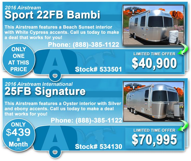 Desert Autoplex RV has dropped it prices on these 2016 Airstreams for a limited time only! Hurry in before it's too late, or call us toll free at (888)-385-1122  #Airstream #airstreams #travel #trailers #traveltrailer #traveltrailers #2016 #2016airstream #sale #pricesdropped #event #sales #promotion #weekend #blowout #gilbert #mesa #scottsdale #az #arizona #phoenix #southwest #desertautoplex #desertautoplexrv