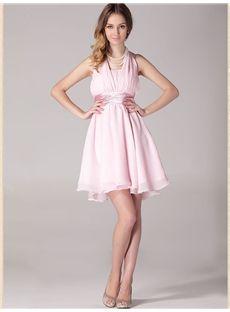 Short/Mini Pick-Ups All Sizes Halter Glamorous & Dramatic Pink Wedding Party Summer Dress