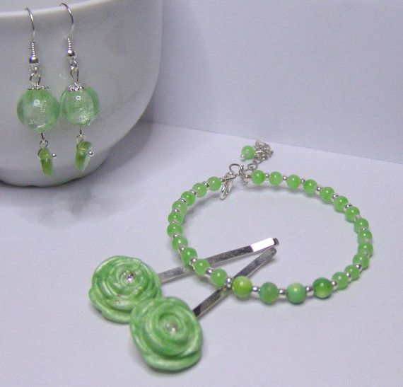 Baby Green  Earrings Ring Bracelet by 1000and1 on Etsy, €12.00