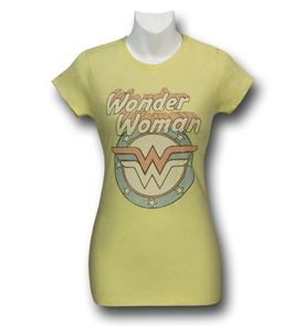 Wonder Woman Vintage Logo Yellow Women's T-Shirt - Slim Cut