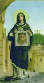 St. Veronica, Roman Catholic woman of Jerusalem who wiped the face of Christ with a veil while he was on the way to Calvary. According to tradition, the cloth was imprinted with the image of Christ's face. Feastday: July 12