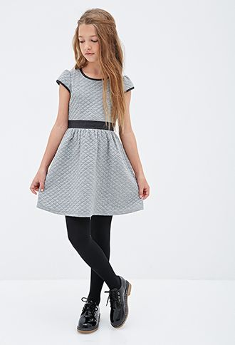 Quilted Faux Leather-Trimmed Dress (Kids) | FOREVER21 girls - 2000080786