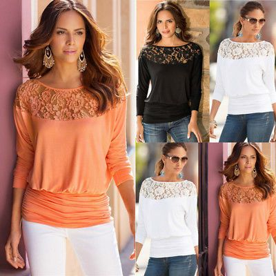 0f6e75360a4 Womens Casual Long Sleeve Shirt Tops Loose Blouse Ladies Lace Baggy Top  Jumper