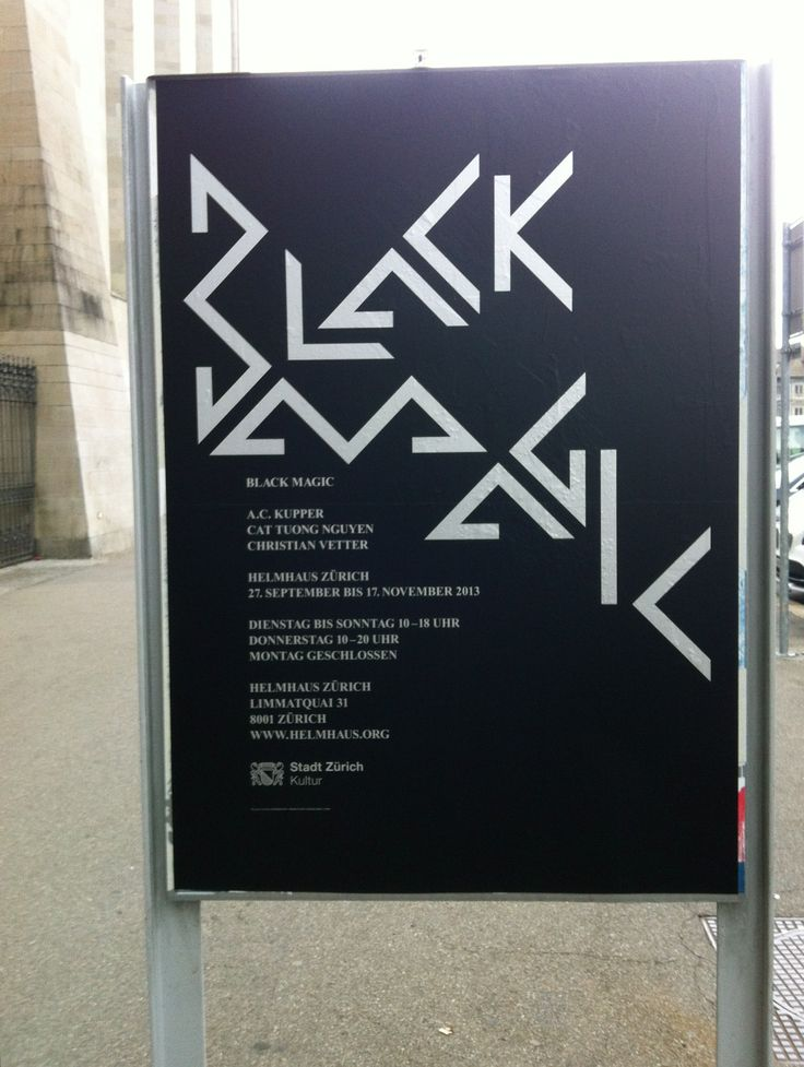 """Poster for the event """" black magic"""" in Zurich, Switzerland. #swiss #graphicdesign"""