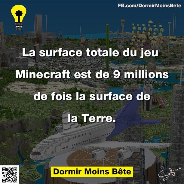 La surface totale du jeu Minercraft est de 9 millions de fois la surface de la terre.