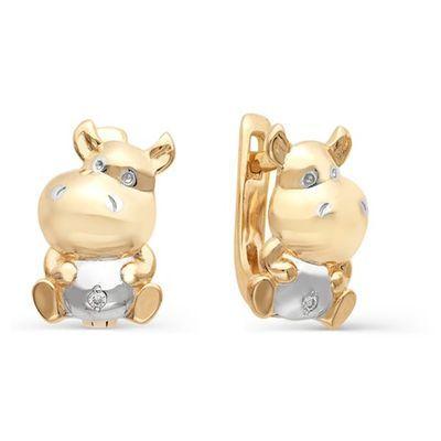 Серьги Бегемотики с бриллиантами из красного золота купить за 13 900 рублей.