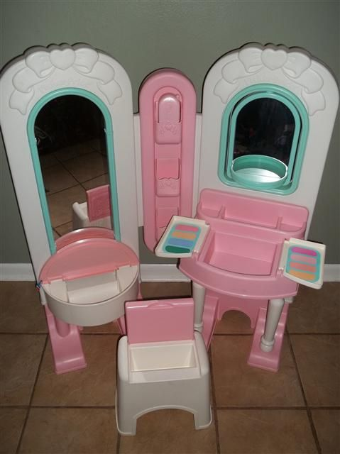 fisher price all in one dress up vanity play set for little girls the vanity is a large. Black Bedroom Furniture Sets. Home Design Ideas