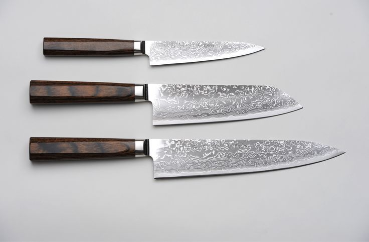 R4 Damascus 3-Piece Set produced by Kirin Hamono - Featuring 69 layers of Stainless Steel with a Powdered Steel Hagane Core