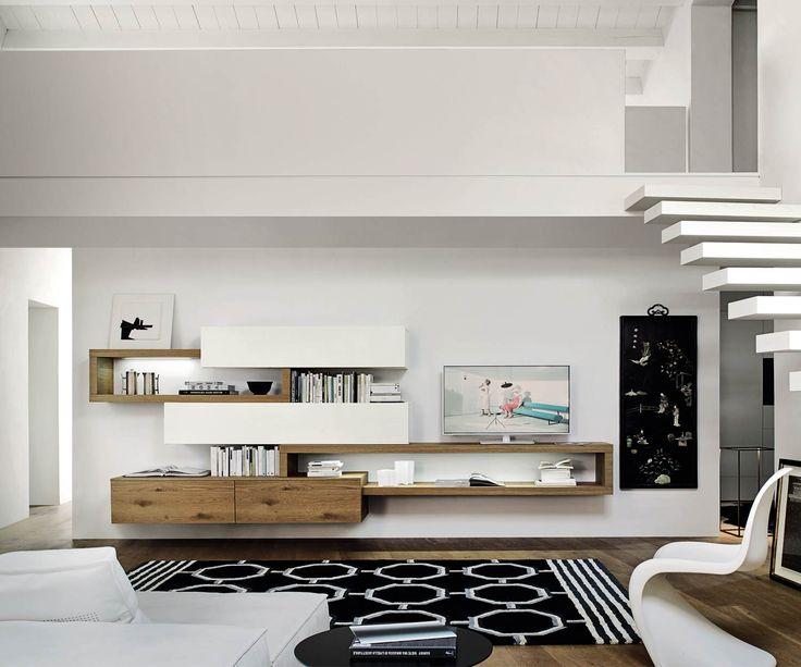 Schwebende Designer Wohnwand C25 Lowboard Hängeschränke TV Board Eiche Weiß Matt 360 cm