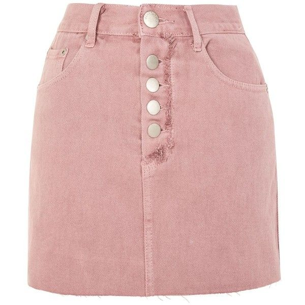 Pink Wash Denim Skirt by Glamorous ($39) ❤ liked on Polyvore featuring skirts, pink, button front denim skirt, denim skirt, button up front skirt, red skirt and button-front skirts