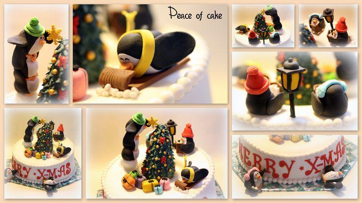 Christmas cake: penguins cellebrating Christmas