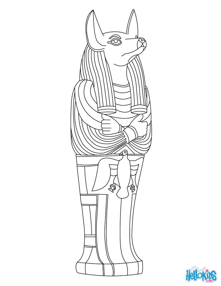 Anubis Egyptian goddess & gods Coloring Page