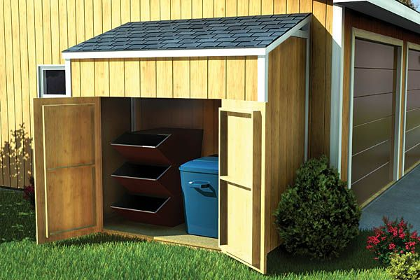 Lean-To Shed - Project Plan 90031 | This compact lean-to style shed is the perfect solution where only a smaller amount of storage is needed. Although it is free-standing, this shed can be made to appear attached to the side of the home. 2 Different Sizes: 8'x4', 6'x4