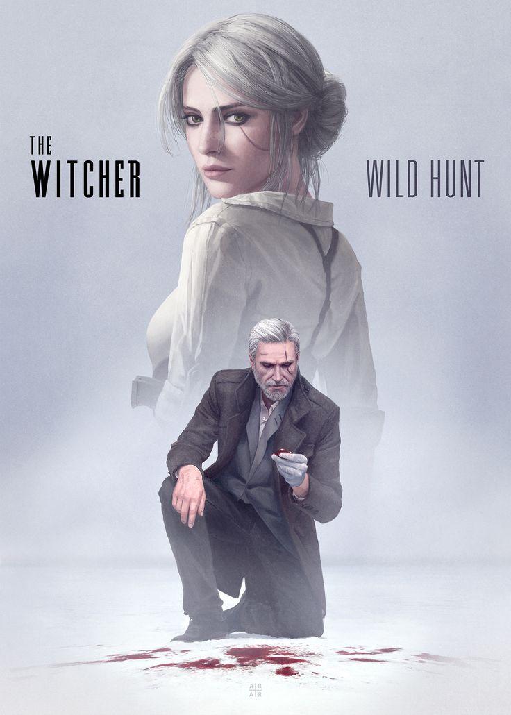A modern, noir, depiction of The Witcher 3 by Ástor Alexander
