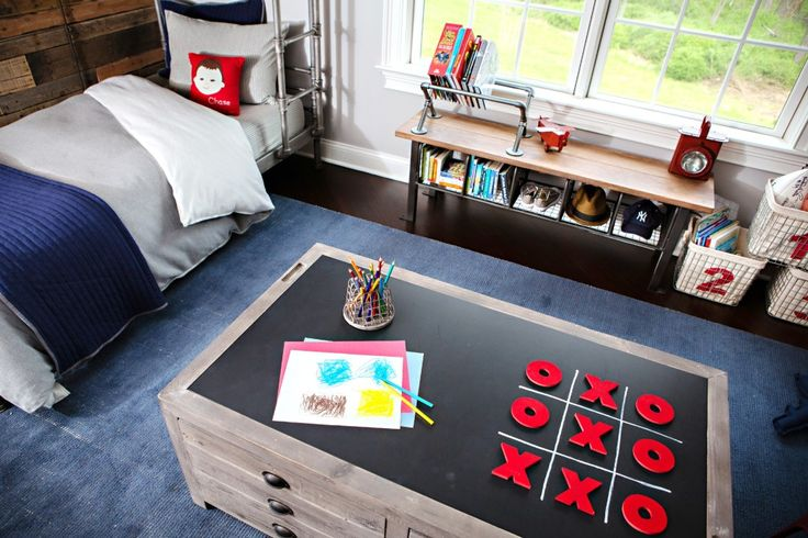 Love this game table with chalkboard top - so perfect for a #kidsroom!Kids Room, Kidsroom, Bedrooms Kids