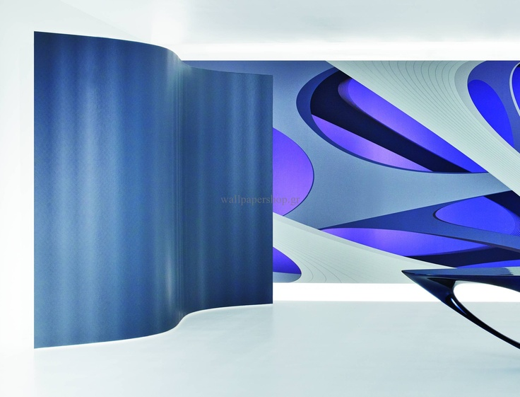 Wallpapers :: Modern :: Zaha Hadid Twist Silver No 1347 - WallpaperShop