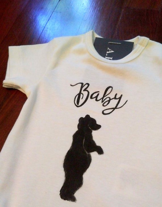 2d717cd1f7a baby bear bodysuit  bear bodysuit  gift for new baby  baby shower gift   baby bodysuit  custom bodysuit  painted t-shirt  family t-shirts