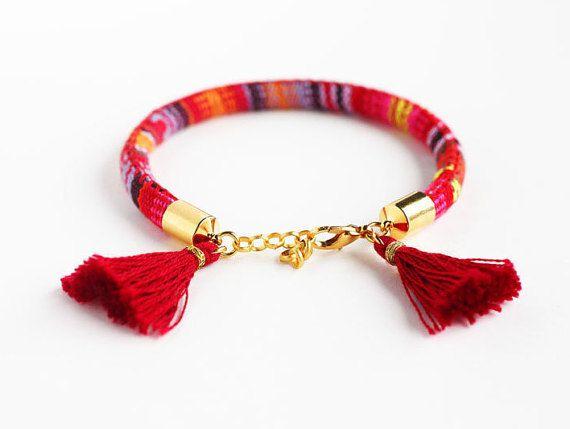 Wrap Bracelet, Rope Bracelet, Tassel Bracelet,  Layering Bracelet