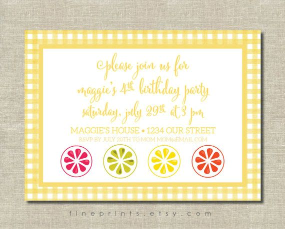 Bright, cheerful citrus and yellow gingham party invitation - perfect for summer gatherings and birthday parties!