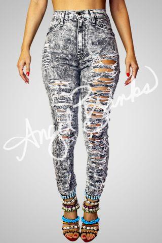 Shredded Gray Jeans