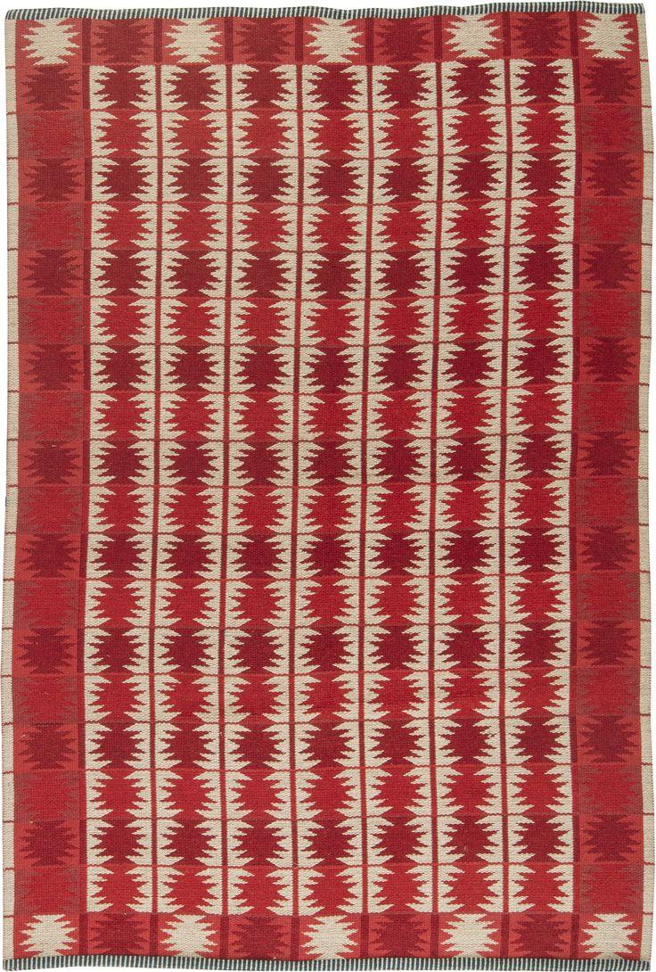 Vintage Rugs: Vintage Rug by Judith Johansson Swedish Flat weave for Scandinavian scandi interior decor, Scandinavian living room