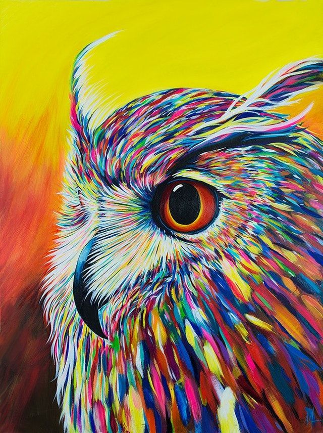 Reddit Art Spectral Owl Acrylic On Canvas 48 X 36 Owl