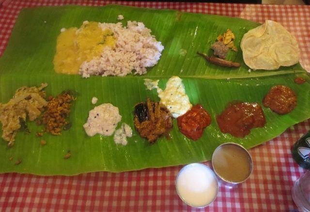 Traditional Kerala sadya lunch, Trivandrum, Kerala, India.
