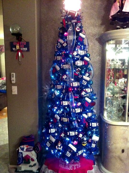 Big blue christmas tree. With different ornaments | Christmas ...