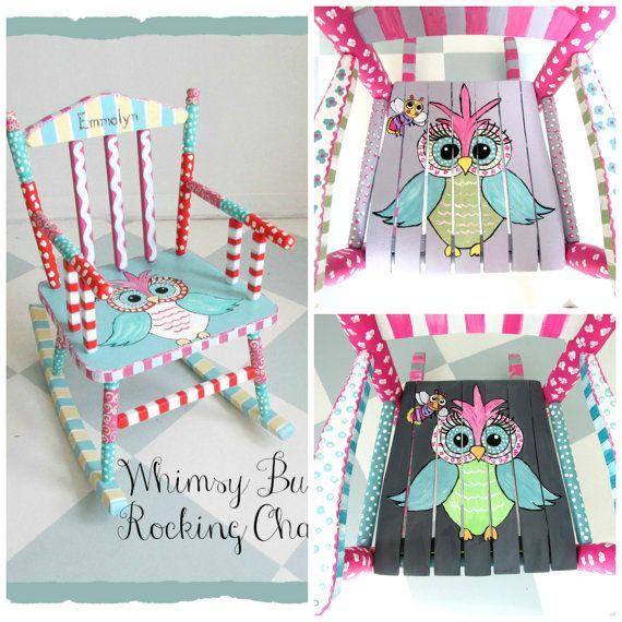 Painted Child Rocking Chair. Owl Chair. Custom and Personalized Kids Rocking Chair. MADE TO ORDER
