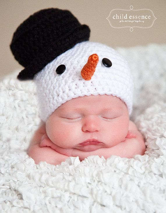Snowman Baby Beanie with Top Hat and Carrot Nose You by AddysHats