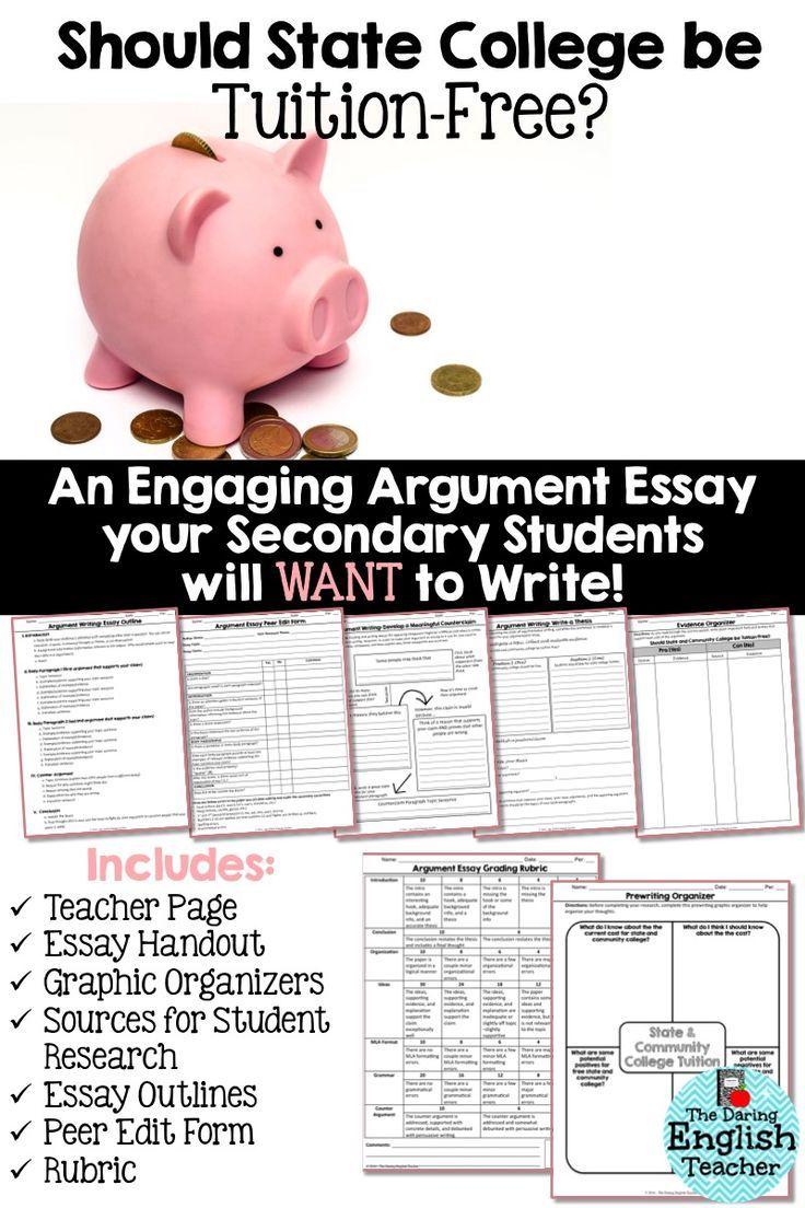 Argument Essay Unit Should State College be TuitionFree
