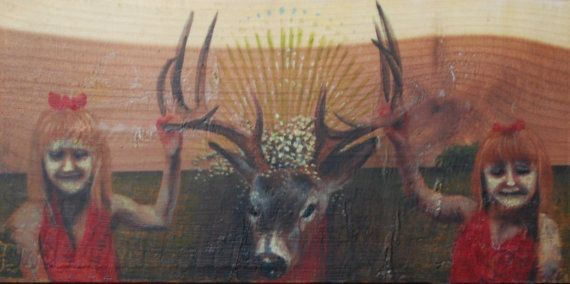 the trophy, painting on cedar plank: Painting, Oil