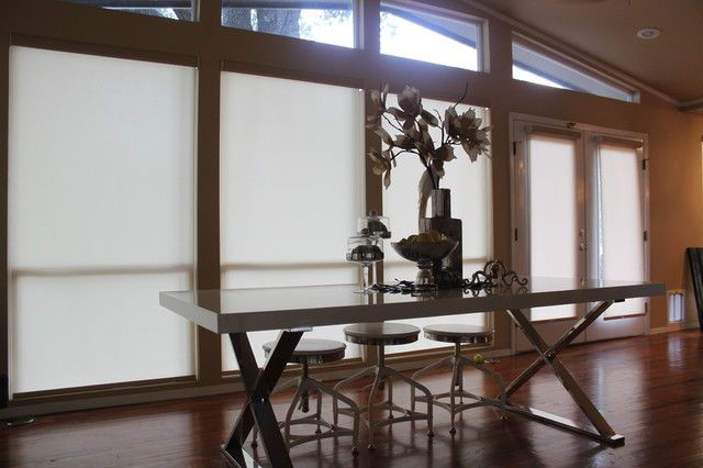 Windows, White Contemporary Roller Blinds Design For Modern Windows Style Also Modern Dining Furniture With Chrome Accent Also Gorgeous And Elegant Bouquet As Dining Table Centerpiece Also Adobrable Glass Jar: Contemporary Panel and Fabric Blinds for Large Windows
