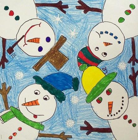 4th grade: Snowman huddle