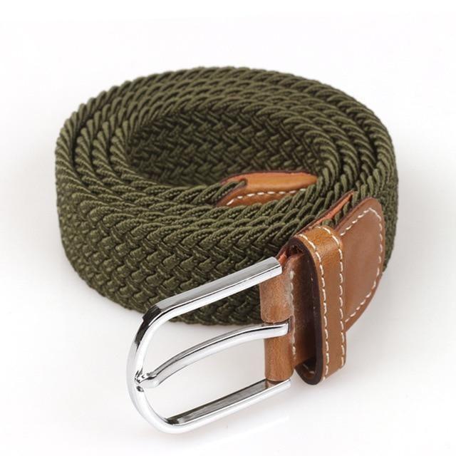Men Elastic Stretch Waist Belt Black Canvas Stretch Braided Elastic Woven Leathe…   – reshopps.com