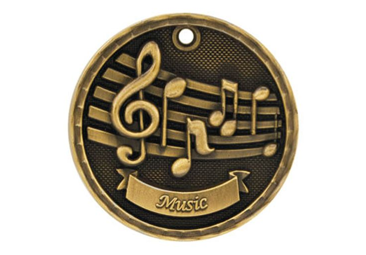 """3-D MEDALLION Music - 2"""". Available in Gold, Silver, or Bronze."""