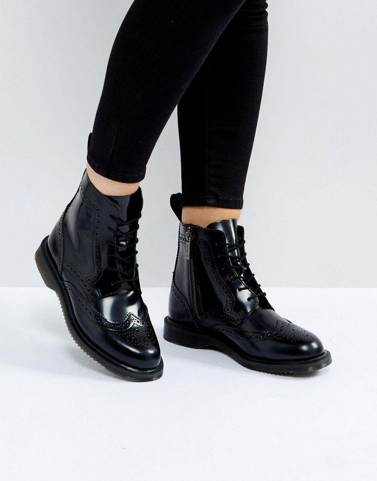 Dr Martens Kensington Delphine Brogue Black Lace Up Ankle Boots - Blac