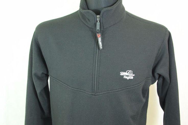 HAGLOFS POLARTEC Half Zip Fleece Pullover Hiking Jacket Black sz M  #Haglfs #FleeceJackets