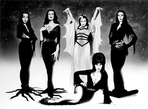 Morticia Addams(show),Vampira, Lily Munster, Morticia Addams(movie) & Elvira. Awesome ladies!