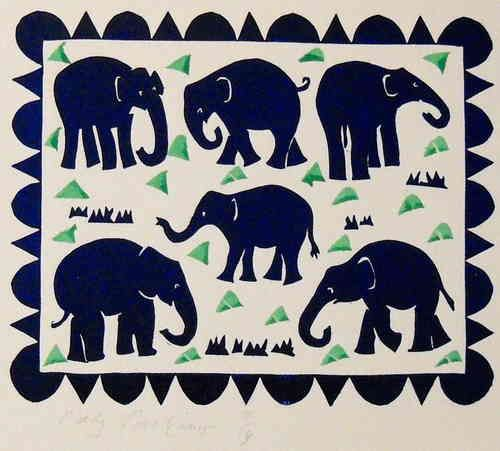 Elephants - Linocutprint