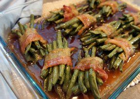 Green Bean Bacon Bundles ( use fresh green beans, cook for 10 min. in salted water) Recipe from RecipeTips.com