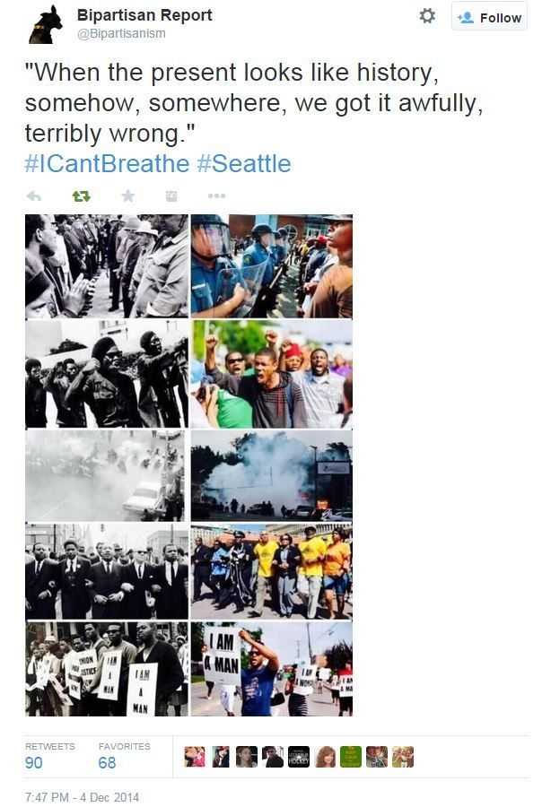 """""""When the present looks like history, somehow, somewhere, we got it awfully, terribly wrong.""""  #ICantBreathe #Seattle"""