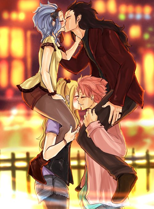 The proper way to have a double date!!!!!!!!!! ||GaLe & NaLu!!!!|| oooowwwoooo sooooo cuuuuteeee I find it so funny that Gajeel is on Natsu's shoulders...