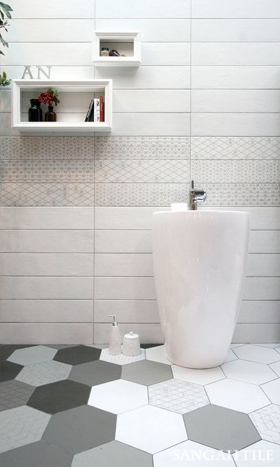 Tile- Sangah's -LE TERRE   #tile #tiles #sangahtile #ceramic #interior #bathroom #interiordesign #home #homeinterior #white #hexagon #wall #floor #space #modern  #타일 #인테리어 #디자인 #홈 #홈인테리어  #욕실 #화이트욕실