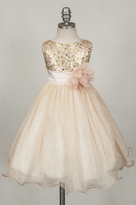 Sparkly Top Sequins Tulle Flower Girl Dresses Ankle Length Gold/Pink/Red Flower Girl Dresses with Flower Kids Evening