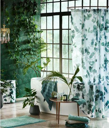 Photo-print Shower Curtain   White/leaf   H&m home   H&M US