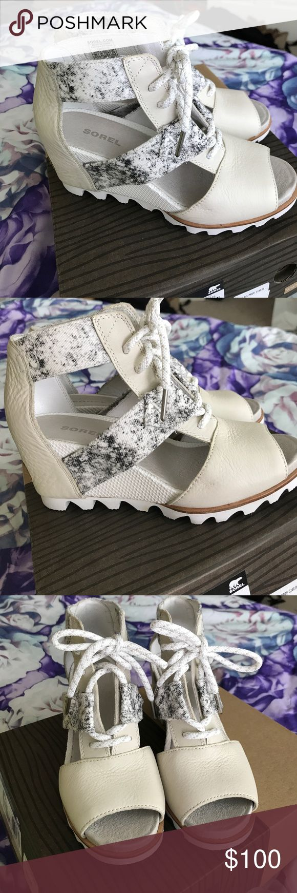 Sorel Joanie Lace Wedges in Sea Salt Stone Size 7.5 new never worn super comfortable sandle wedges! Goes well with skinny jeans or dresses. Sorel Shoes Wedges